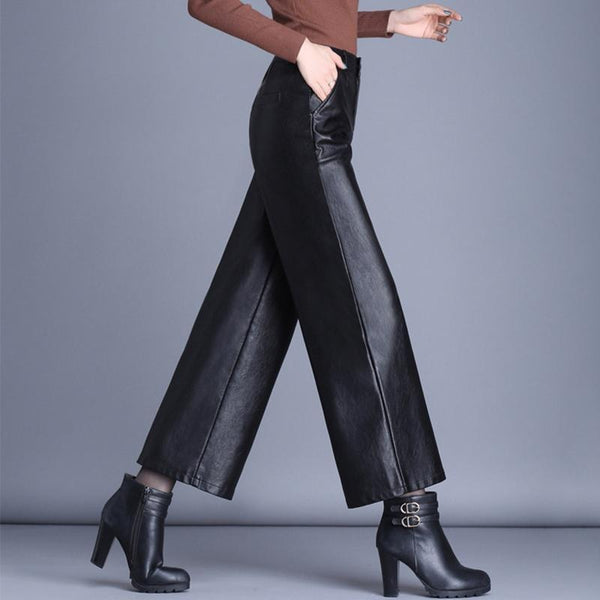 Faux Leather Cropped Wide Leg Trousers Belted