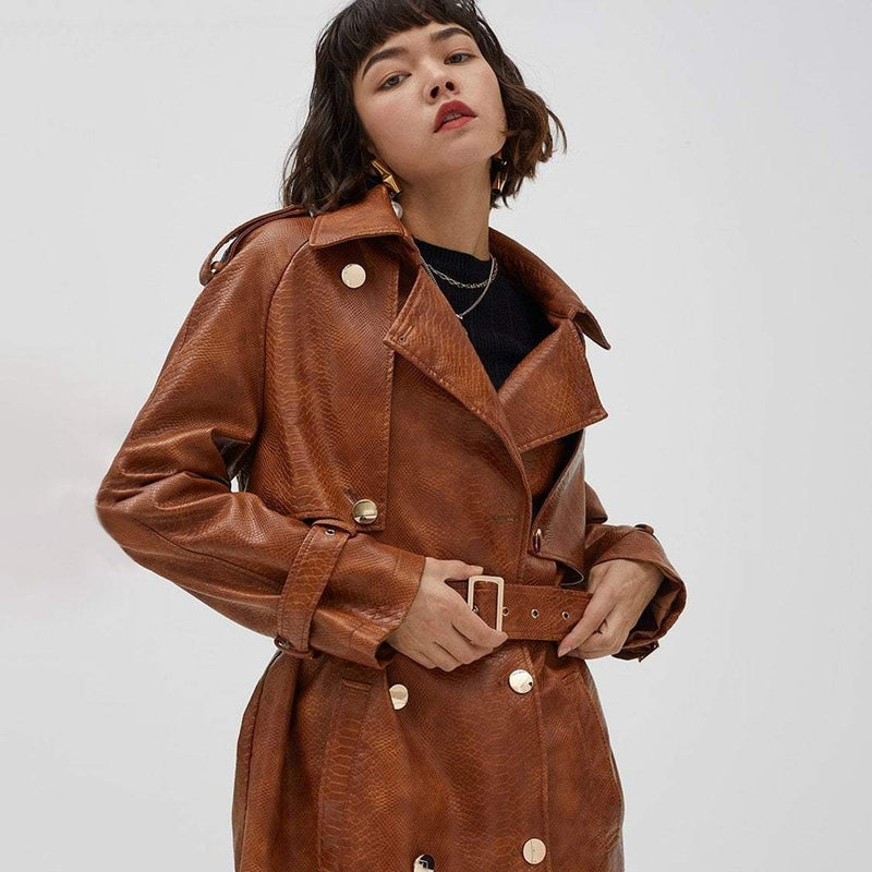Croc Effect Double Breasted Faux Leather Trench Coat