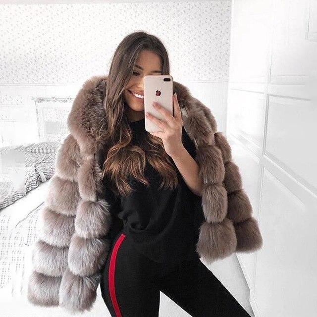 Faux Fur Hooded Bubble Coat