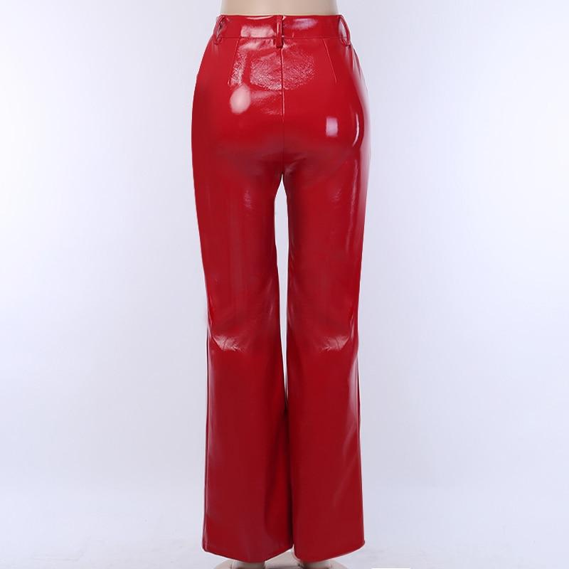 Glossy High Waist Faux Leather Trousers