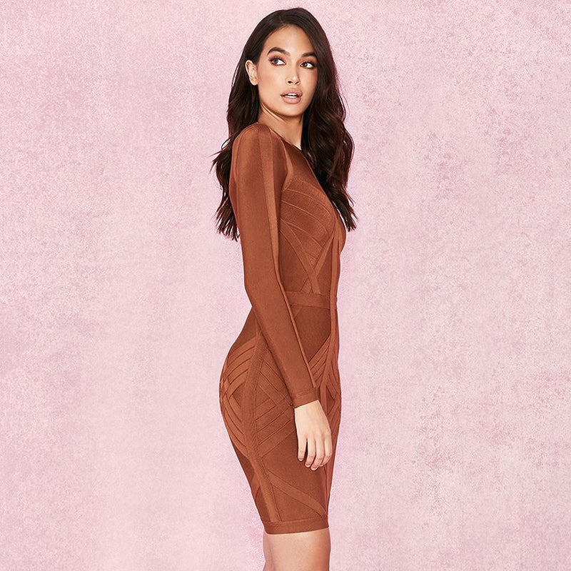 Bandage Party Bodycon Midi Dress With Long Sleeves