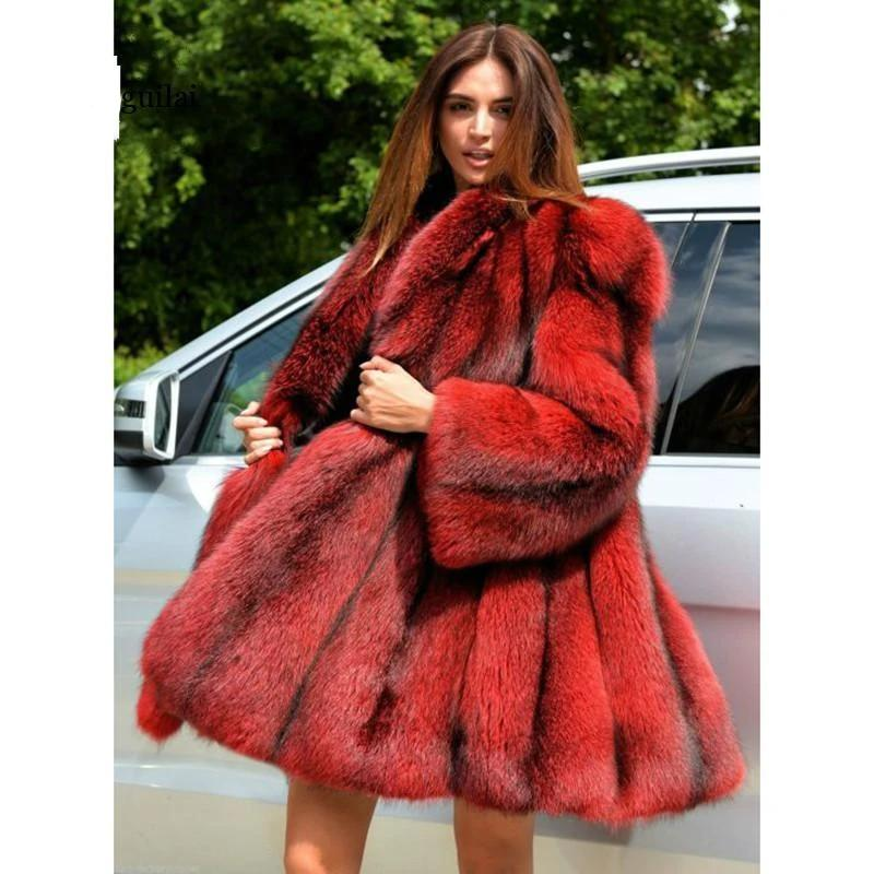 Faux Fur Vintage Coat - Stripe