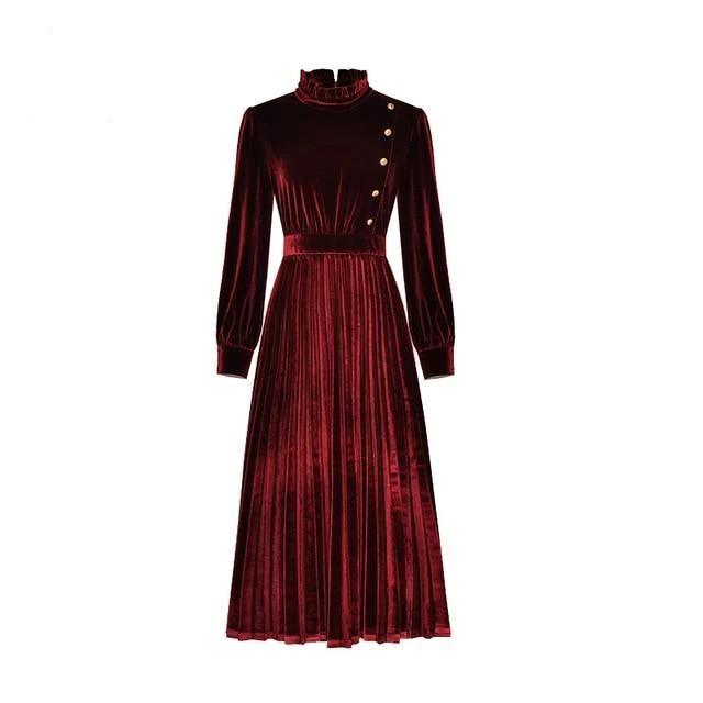 Velvet Pleated Midi Dress - Button Detailing
