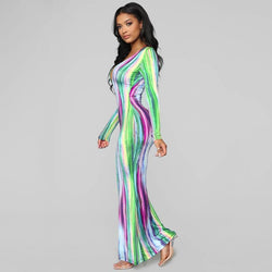 Tie Dye - Dress Bodycon Maxi - Long Sleeve