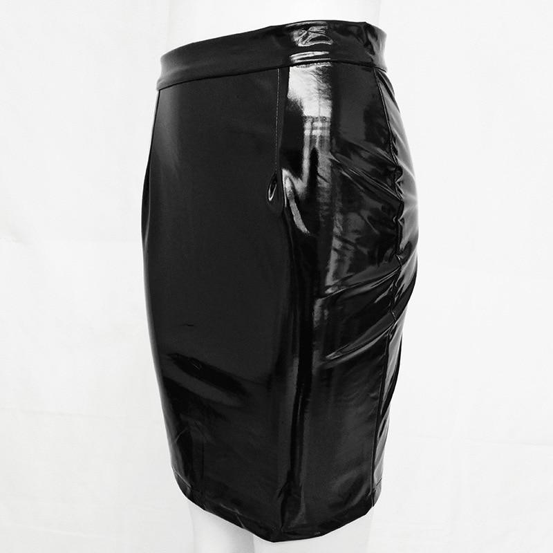 Faux Leather High Shine Midi Skirt With High Waist Finish