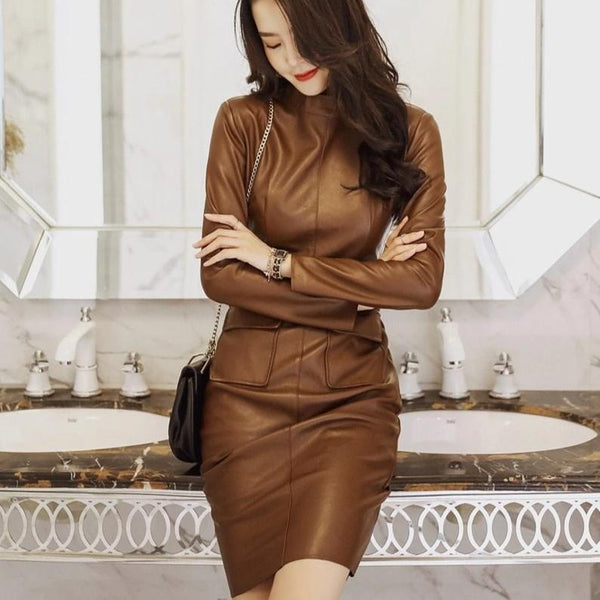PU Leather Dress - Bodycon Midi - High Neck