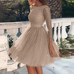 Backless Skater Mini Dress - Sequin Long Sleeve Dress