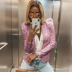 Sequin Blazer - Puff Sleeve