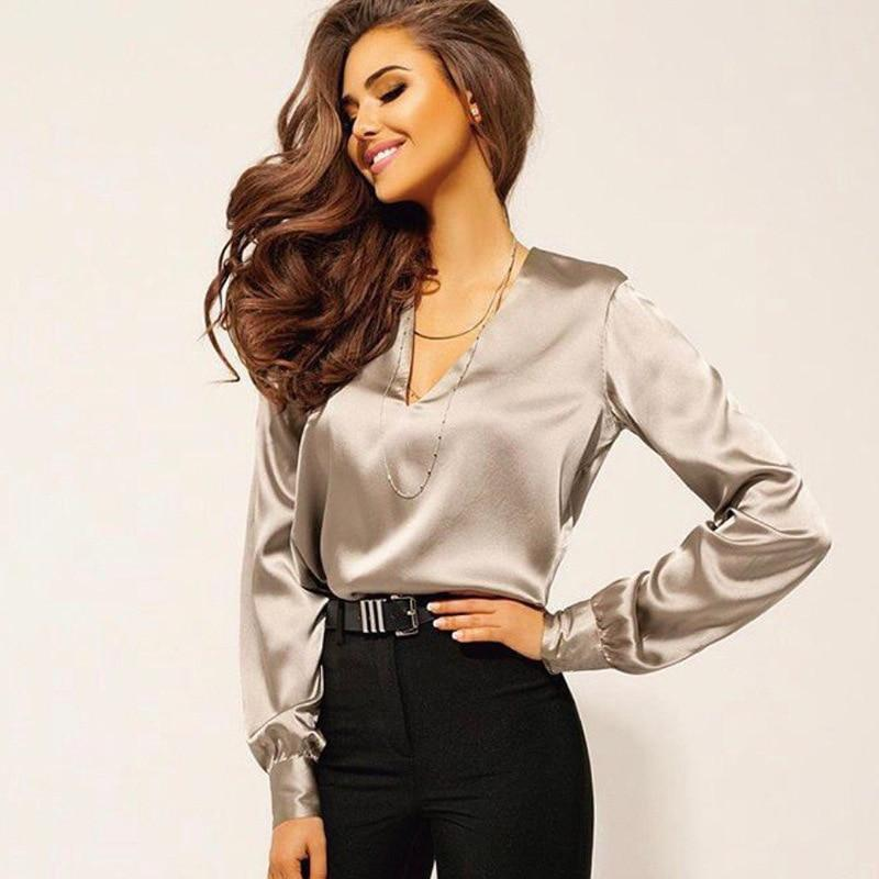 Satin V-Neck Shirt - Collarless Fitted Satin Shirt With Long Sleeves
