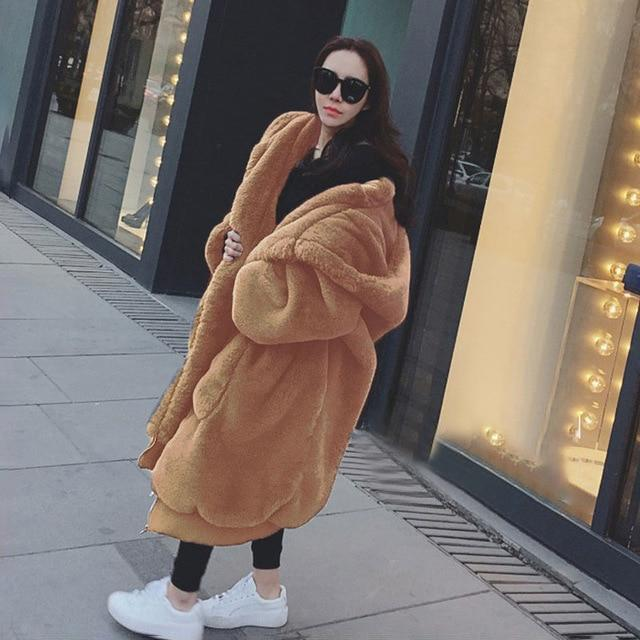 Oversized Big Faux Fur Coat With Hood