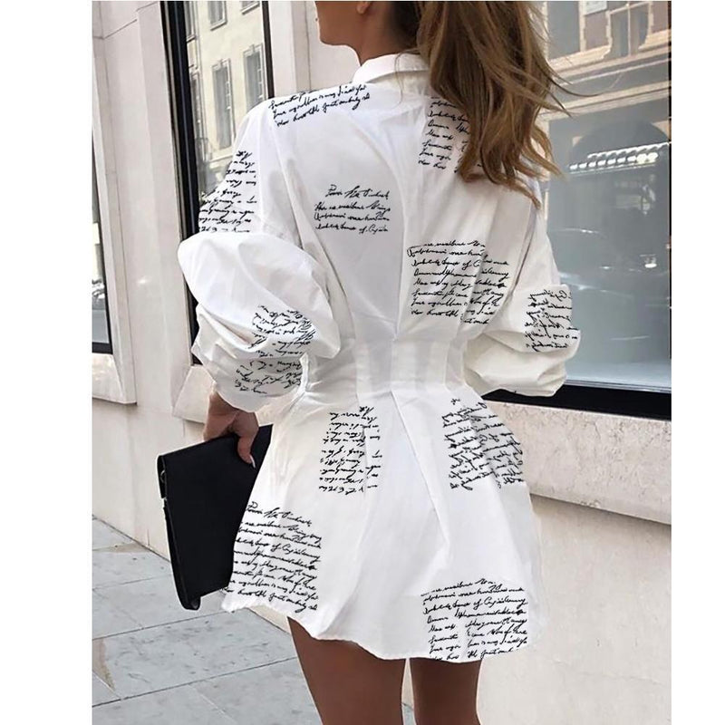 Letter Print Button Up Shirt Dress - Turn Down Collar - Mini Dress