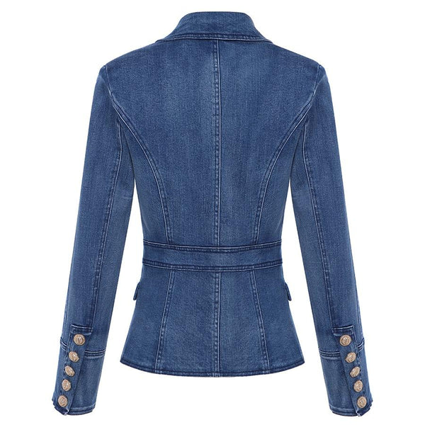 Balmain Inspired Double Breasted Denim Blazer With Lion Buttons