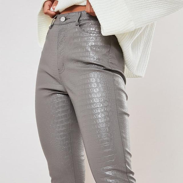Faux Leather Trousers - High Waist Trousers