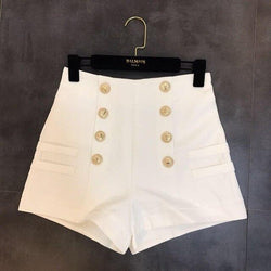 High Waist Double Gold Button Shorts - Button Turn Up Shorts