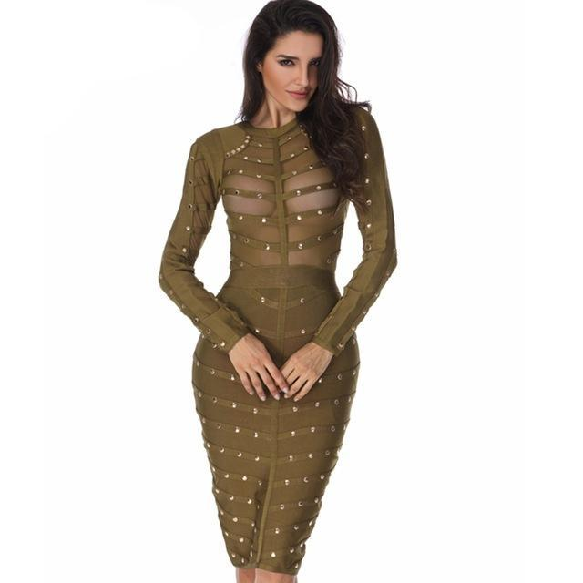Stud Bandage Dress - Midi Bodycon - Long Sleeve