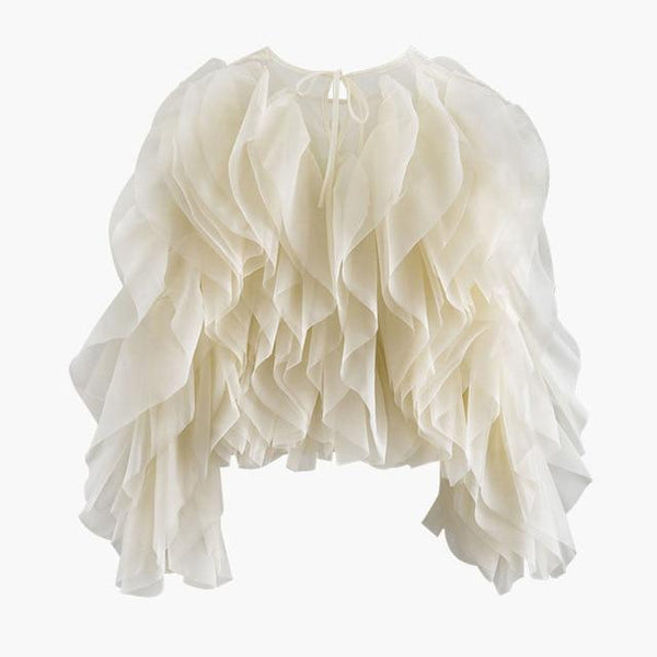 Chiffon Patchwork Ruffles Blouse - Long Sleeve