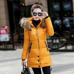 Long Puffer Parka Coat With Faux Fur Hood