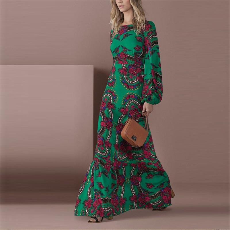 Floral Maxi Dress - Lantern Sleeve - Plus Size