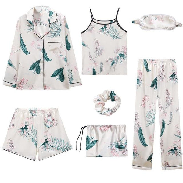 Silk 7 Piece Pyjama Set - Sleepwear - Floral