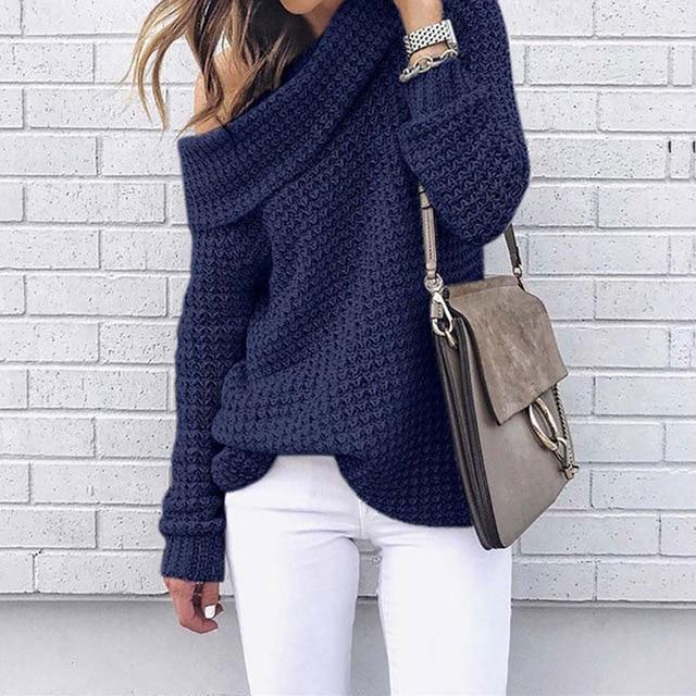 Off Shoulder Knit Jumper - Casual