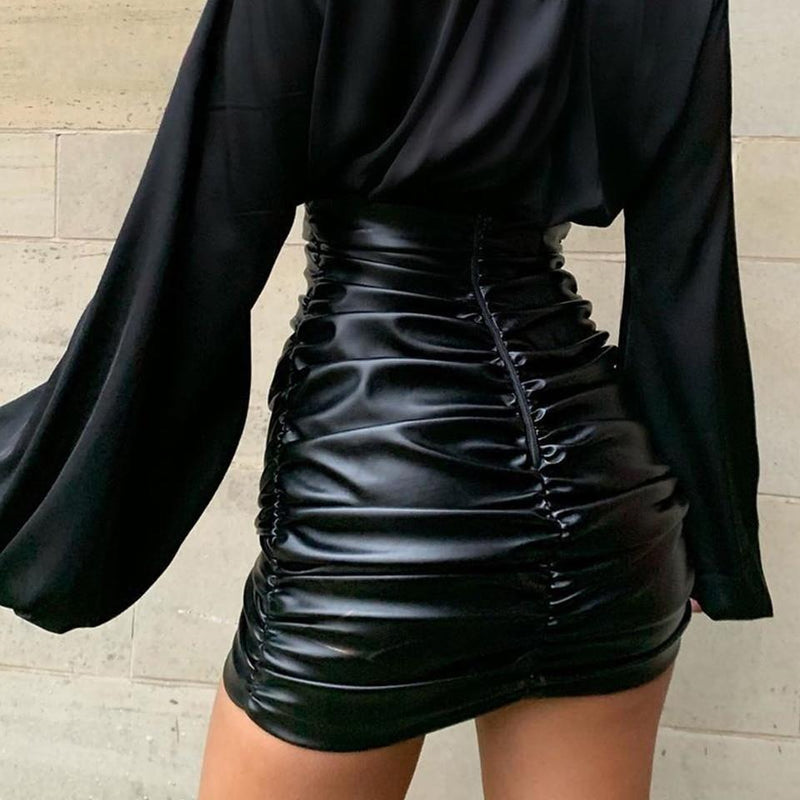 PU Leather Kylie Skirt Sexy Ruched High Waist