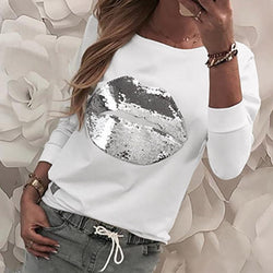 Sequin Lips Top - Long Sleeve