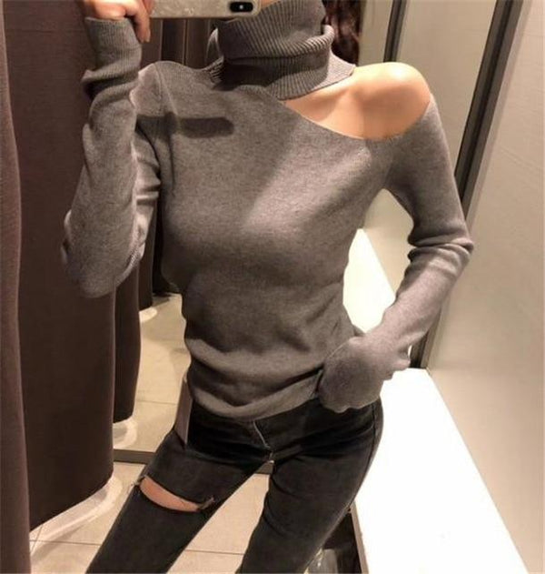 Cut Out Shoulder Turtleneck Sweater