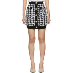 Balmain Style Button Embellished Houndstooth Tweed Mini Skirt