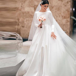 Wedding Dress - Satin Floor Length Dress - Long Sleeve