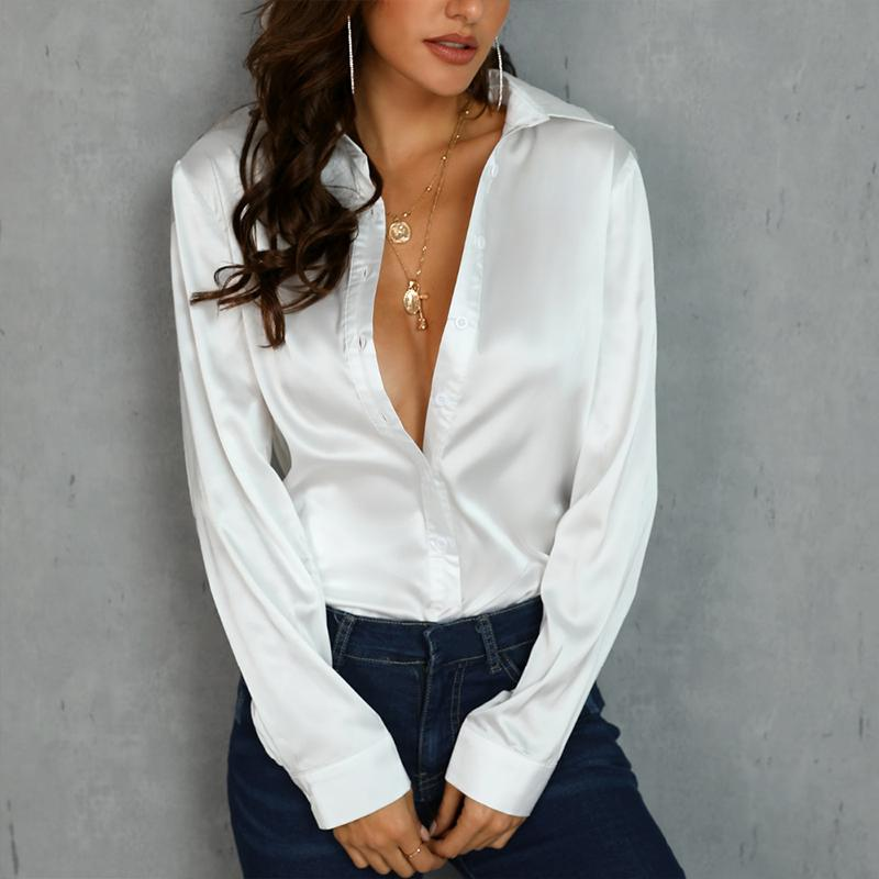 Satin Long Sleeve Button Up Shirt