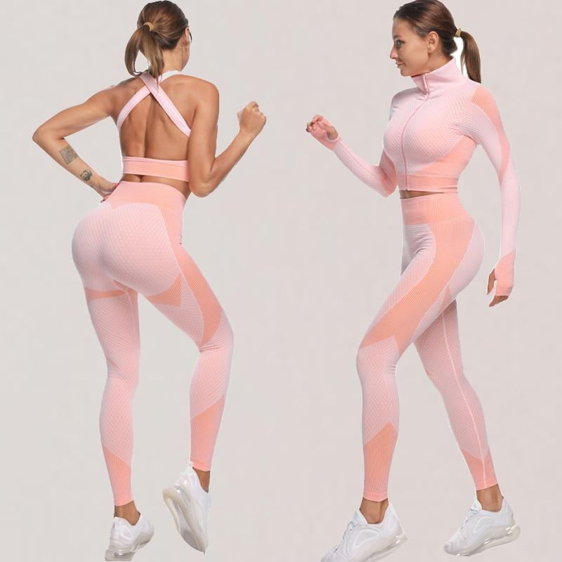 Fitness Gym Seamless 3 Piece Set - Long Sleeve