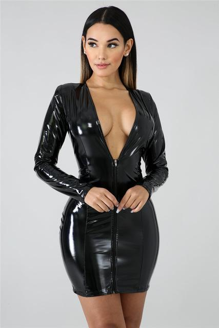 PU Leather V-Neck Zip Dress - Mini