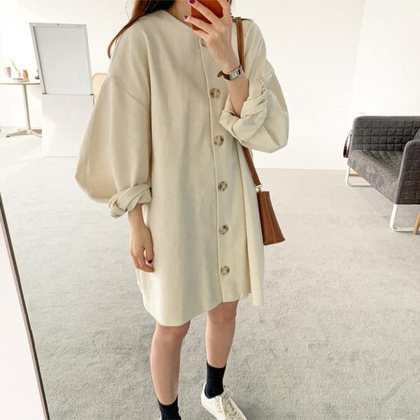 Oversized Smock Button Through Dress With Long Sleeves