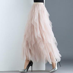 High Waist Tulle Maxi Skirt