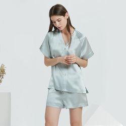 Pure Silk Satin Pyjamas 2 Piece Set - Loose Button Up Shirt with Shorts