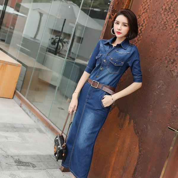 Denim Maxi Shirt Dress With 3/4 Sleeves