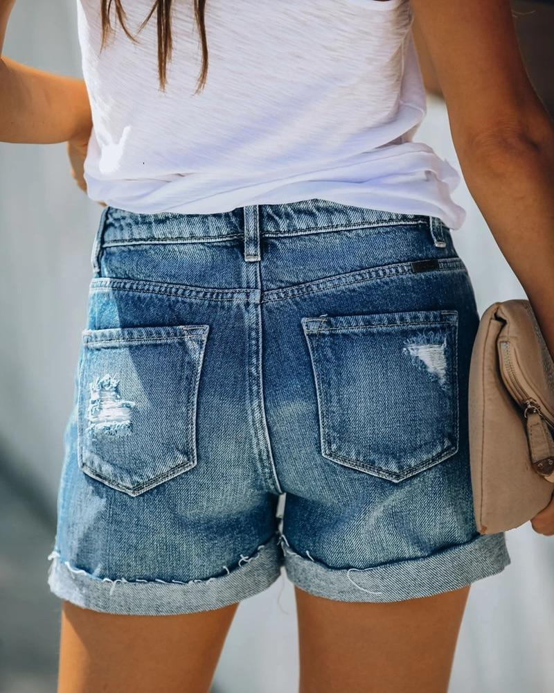 High Waist Distressed Denim Shorts - Button Turn Up Shorts