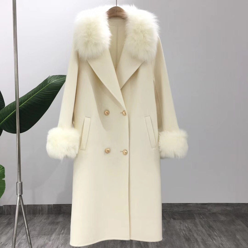 Cashmere Wool Blend Coat With Faux Fur Trim