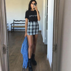 Vintage Plaid Mini Skirt - Mini Skirt