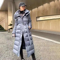 Long Puffer Coat - Hooded Waterproof Winter Coat With Belt