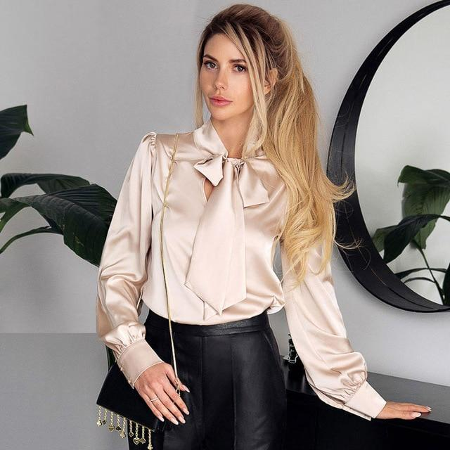 Satin Bow Tie Blouse - Long Sleeve Blouse