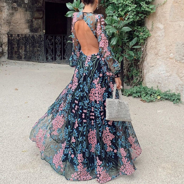 Floral Chiffon Backless Maxi Dress With Long Bell Sleeves