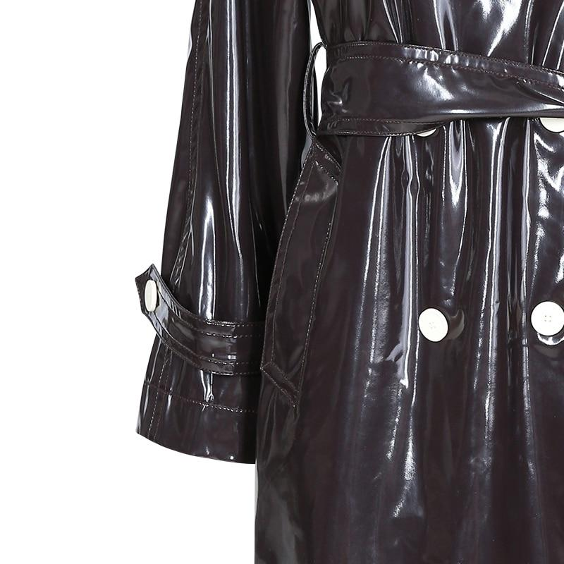 Double Breasted Wet Look Long Trench Coat With Belt