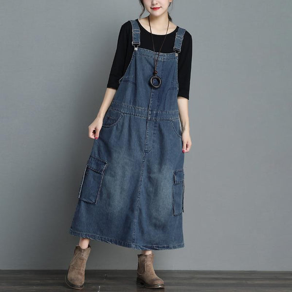 Denim Maxi Dress - Plus Size with Pockets