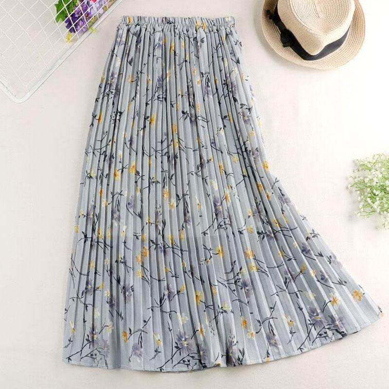 Floral Print A-Line Pleated Midi Skirt