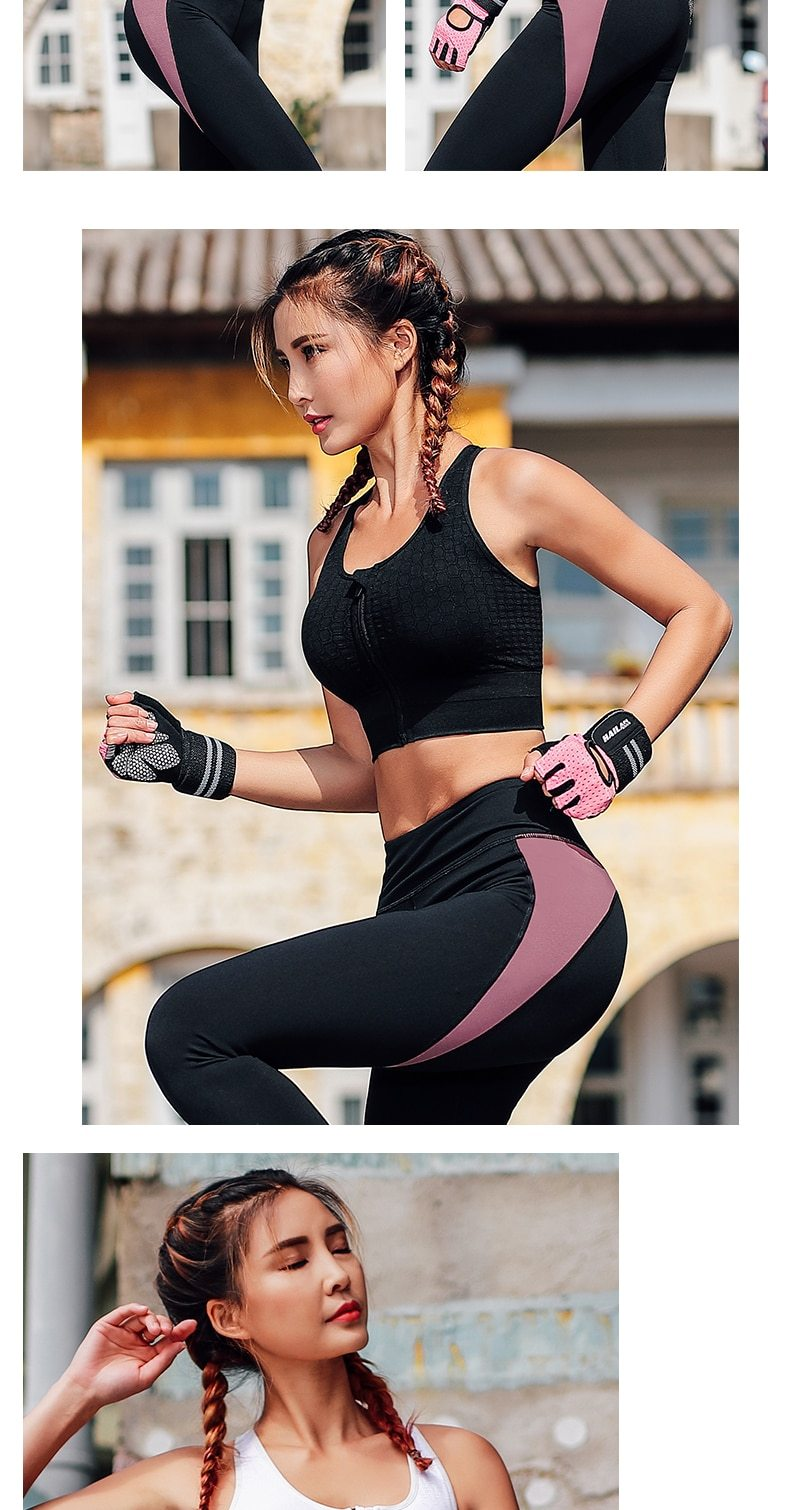 High Impact Zip Front Push Up Sports Bra