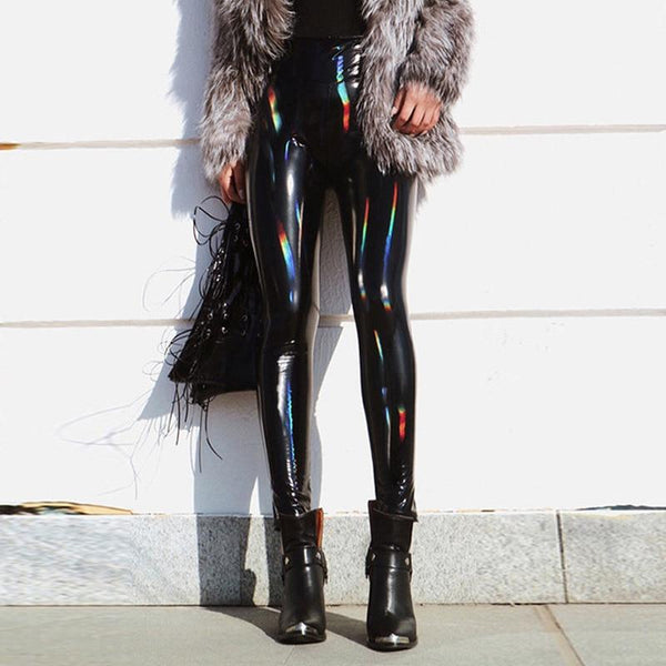 PU Vinyl Leggings - Reflective Wet Look Leggings