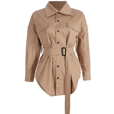 Pure Cotton Oversized Shirt Dress - Military Style Shirt Dress With Belt