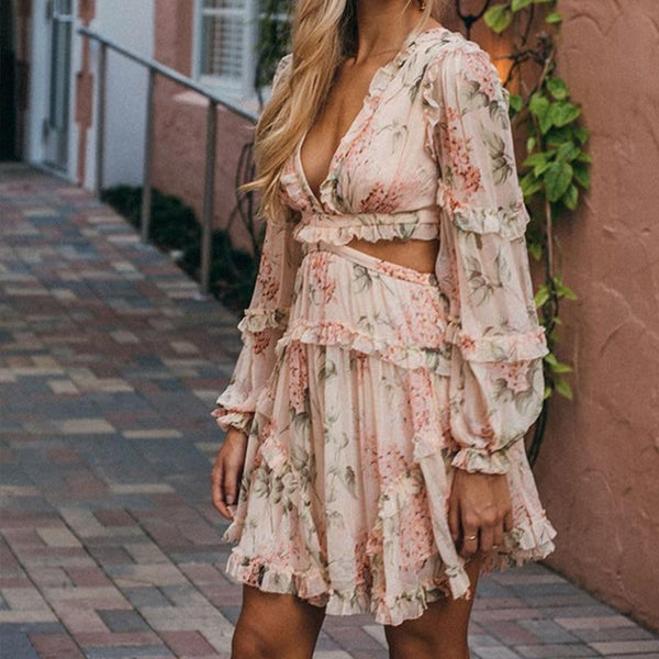 Coral Floral Cut Out Mini Chiffon Dress