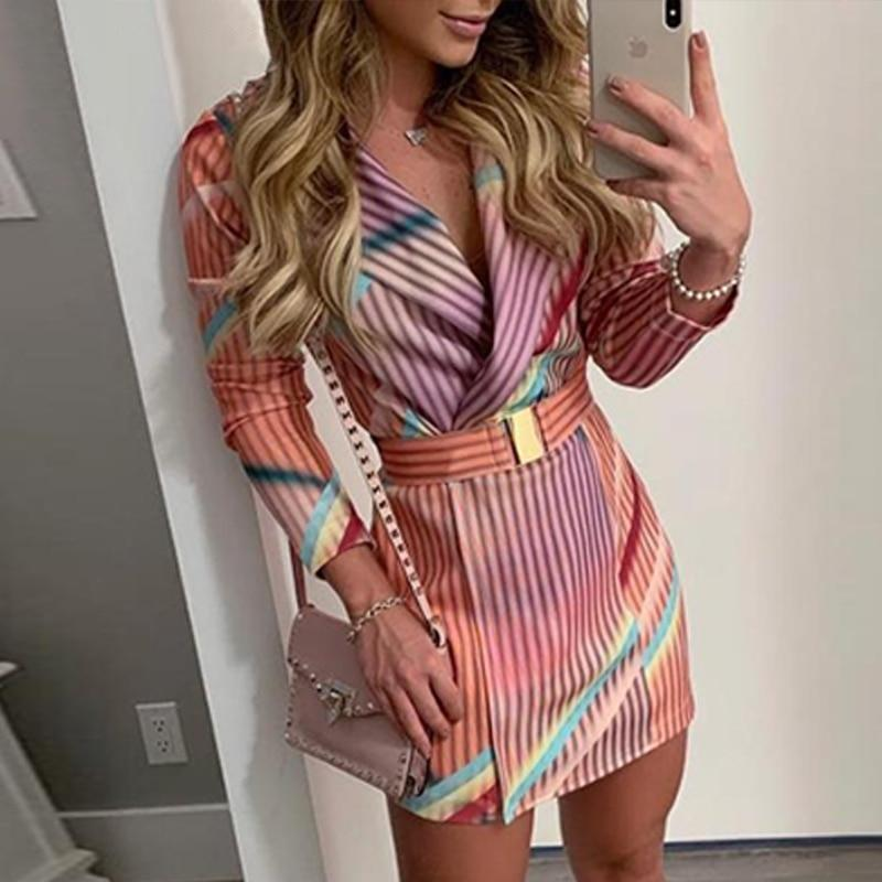 Striped Print Mini Blazer Dress With Belt
